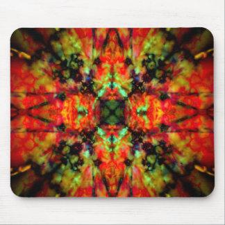 Red kaleidoscope star pattern mouse mat