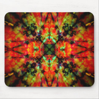 Red kaleidoscope star pattern mouse pad