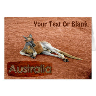 Red Kangaroo In Slouch Hat Card