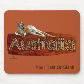 Red Kangaroo In Slouch Hat Mouse Mat