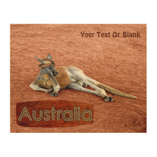 Red Kangaroo In Slouch Hat Wood Wall Art