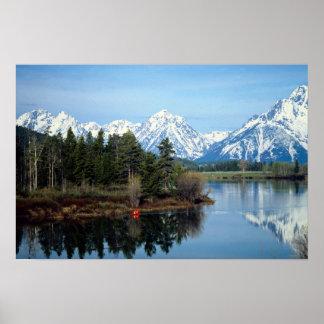 Red Kayak, Grand Teton National Park, USA Poster
