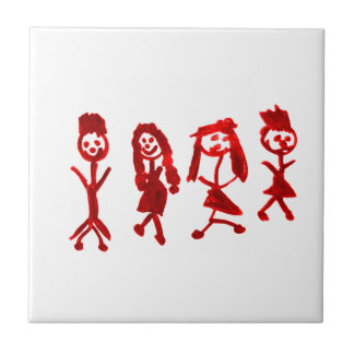 Red Kaylee My Family 2013 Art1a Hoboken The MUSEUM Small Square Tile
