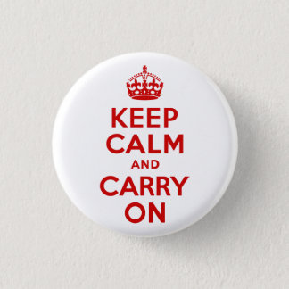 Red Keep Calm and Carry On 3 Cm Round Badge