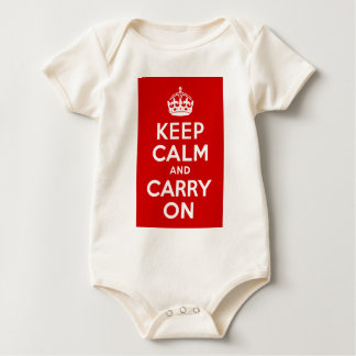 Red Keep Calm and Carry On Baby Bodysuit