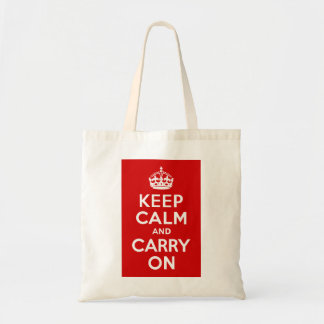 Red Keep Calm and Carry On Budget Tote Bag