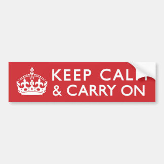 Red Keep Calm and Carry On Bumper Sticker