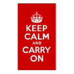 Red Keep Calm and Carry On Double-Sided Standard Business Cards (Pack Of 100)