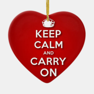 Red Keep Calm And Carry On Ceramic Heart Decoration