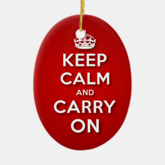 Red Keep Calm And Carry On Ceramic Oval Decoration