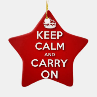 Red Keep Calm And Carry On Ceramic Star Decoration