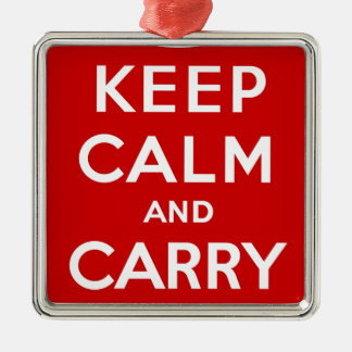 Red Keep Calm And Carry On Christmas Ornament