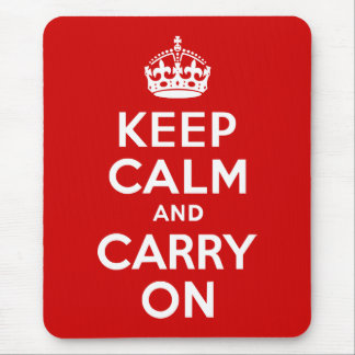 Red Keep Calm and Carry On Mouse Mat