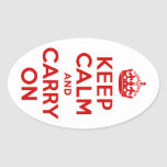 Red Keep Calm and Carry On Oval Sticker