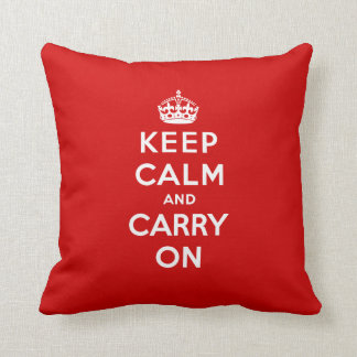 Red Keep Calm and Carry On Pillow