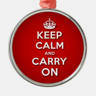 Red Keep Calm And Carry On Silver-Colored Round Decoration
