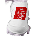 Red Keep Calm and Carry On Sleeveless Dog Shirt