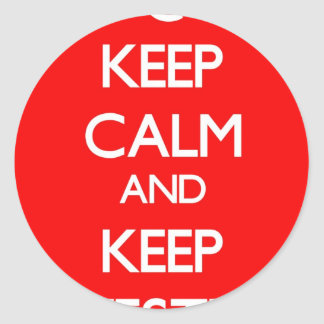 Red Keep Calm and Keep Investing Classic Round Sticker