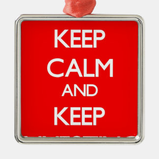 Red Keep Calm and Keep Investing Silver-Colored Square Decoration