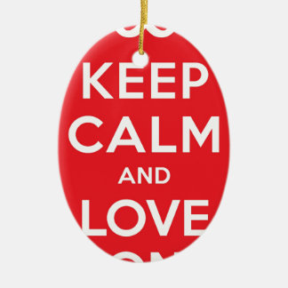 Red Keep Calm And Love On Ceramic Oval Decoration