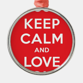 Red Keep Calm And Love On Silver-Colored Round Decoration