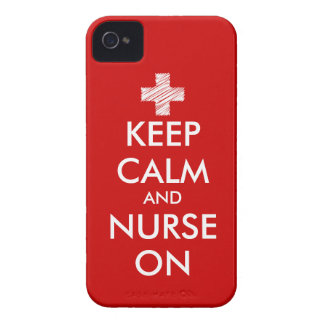 Red Keep Calm and nurse on iPhone 4 case