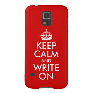 Red Keep Calm and Write On Galaxy S5 Covers
