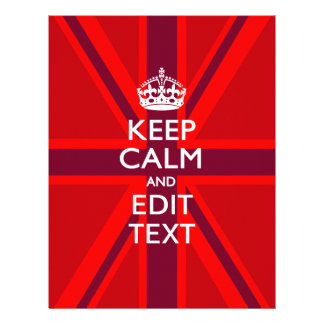 Red Keep Calm And Your Text on Union Jack Flag 21.5 Cm X 28 Cm Flyer