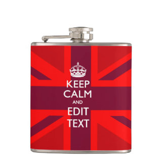 Red Keep Calm And Your Text on Union Jack Flag Hip Flask
