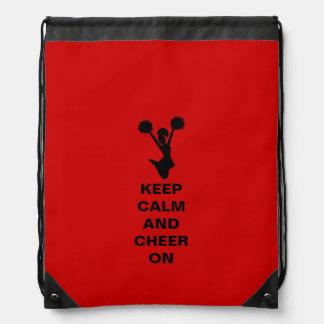 Red Keep Calm Cheerleader Drawstring Backpack