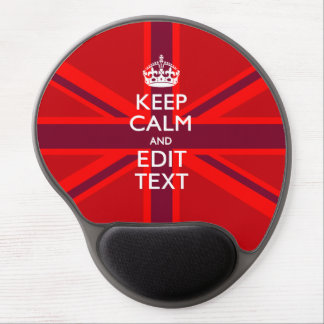 Red Keep Calm Have Your Text on Union Jack Flag Gel Mouse Pad