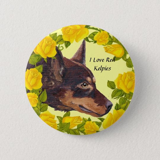 Red Kelpies and Yellow Roses 6 Cm Round Badge