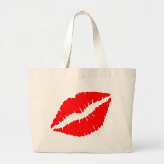Red Kiss Large Tote Bag