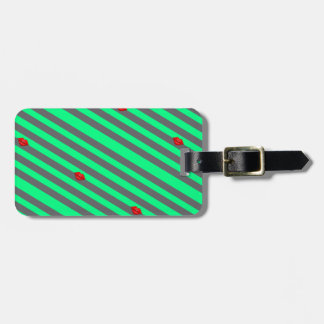 red kiss lips grey green stripes print luggage tag