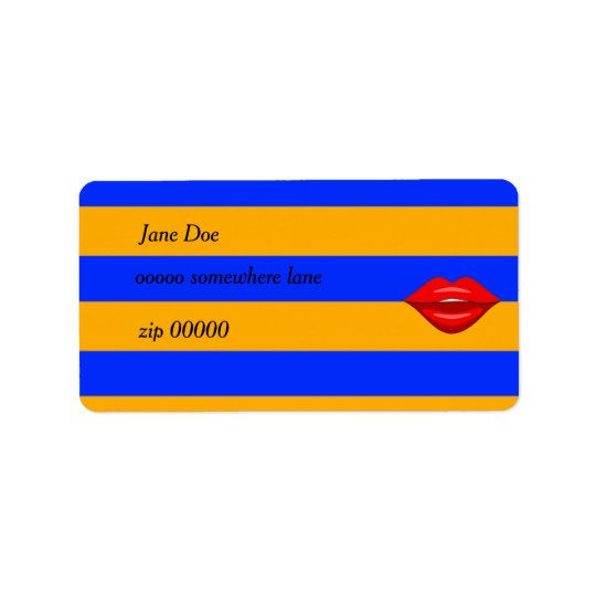 Red kiss lips orange blue stripes address labels