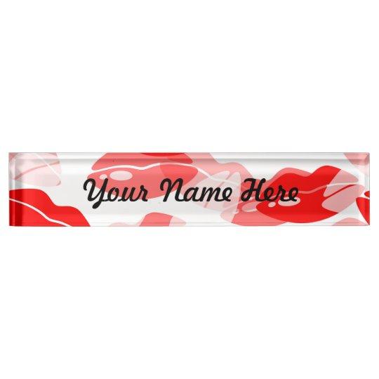 Red Kiss Love Lips Design Nameplate