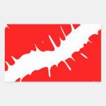 Red Kiss Rectangular Sticker