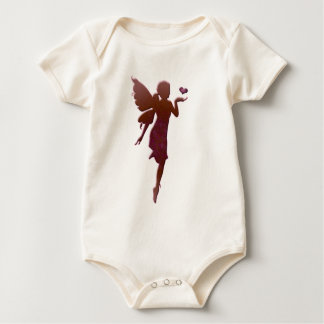 Red Kissing Fairy and Heart Baby Bodysuit
