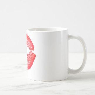 Red Kissing Lips Basic White Mug
