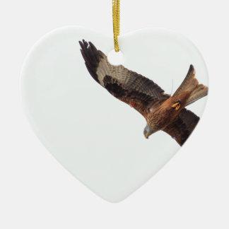Red Kite In Sky Ceramic Heart Decoration