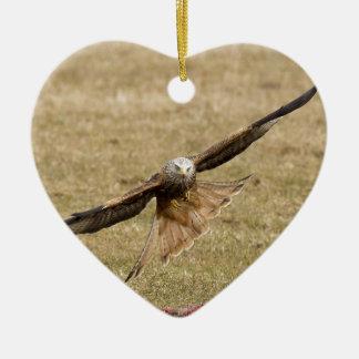 Red Kite (Milvus Milvus) Ceramic Heart Decoration