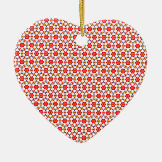 Red kitsch flower pattern ceramic heart decoration
