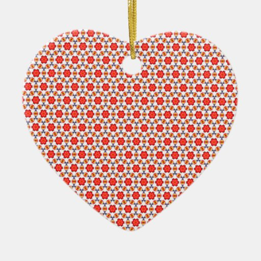 Red kitsch flower pattern christmas tree ornament