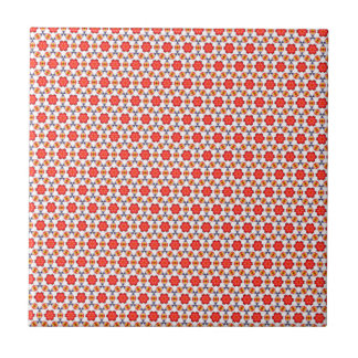 Red kitsch flower pattern small square tile