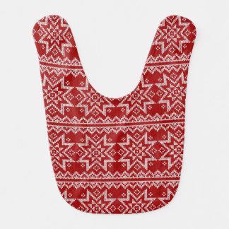 Red Knitted Stars Bib