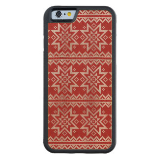 Red Knitted Stars Carved Maple iPhone 6 Bumper Case