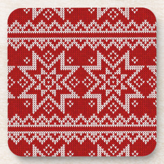 Red Knitted Stars Coaster