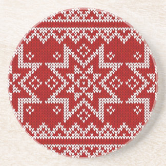 Red Knitted Stars Drink Coasters