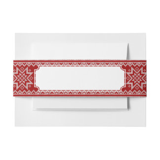 Red Knitted Stars Invitation Belly Band