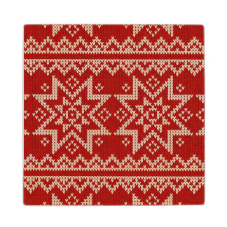 Red Knitted Stars Maple Wood Coaster